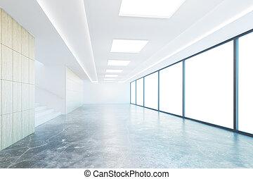 Empty concrete hallway