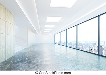 Empty concrete hallway with city view