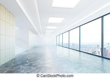 Empty concrete hallway with city view