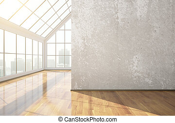 Empty concrete room with blank wall, wooden floor, city view...