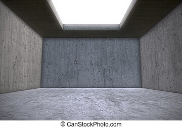 Empty Concrete Room with Skylight Celling Window