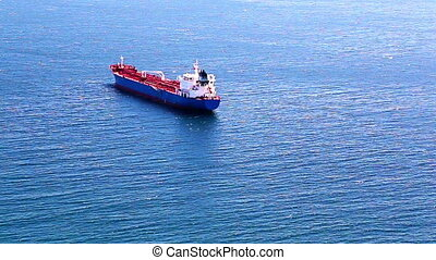 Empty container cargo ship in ocean