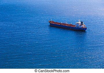 Empty container cargo ship in sea