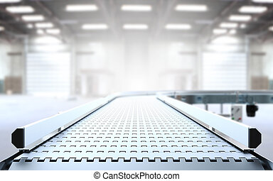 Empty conveyor belt 3D rendering