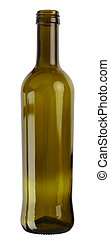 Empty cooking oil glass bottle isolated on white background. 2 images stitched - original size, DFF image, Adobe RGB