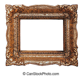 Empty copper ornate picture frame with white background - Stock image