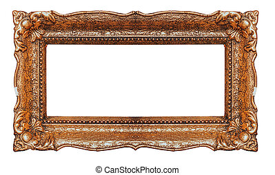 Empty copper picture frame with white background - Stock image