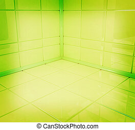 Empty corner in the room . 3D illustration. Vintage style.