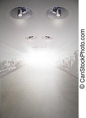 empty corridor - modern empty corridor with any halogen...