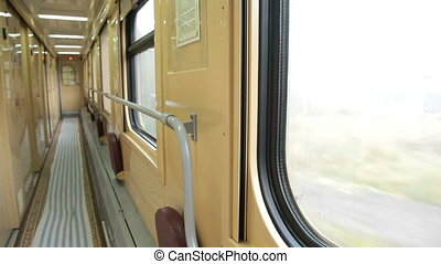 Empty corridor of passenger compartment car