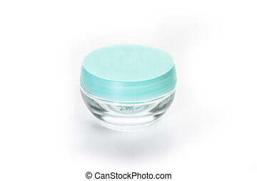 empty cosmetic glass jar isolated on white background