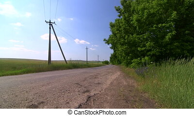 Empty country road through the field in summer