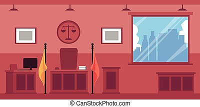 Empty courthouse or trial interior with wooden furniture flat vector illustration. Court hearing room background with judges desk and prosecutor tribune.