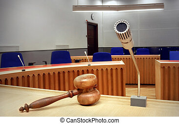 empty courtroom -  interior of an empty modern courtroom