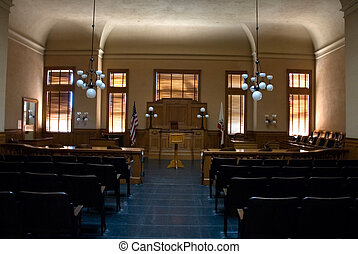 Empty courtroom - interior of an empty old courtroom