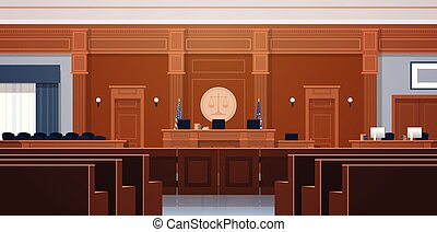 empty courtroom with judge and secretary workplace jury box seats modern courthouse interior justice and jurisprudence concept horizontal vector illustration