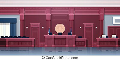 empty courtroom with judge and secretary workplace jury box...