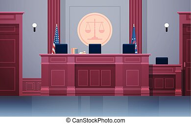 empty courtroom with judge workplace chairs and table modern courthouse interior justice and jurisprudence concept horizontal vector illustration