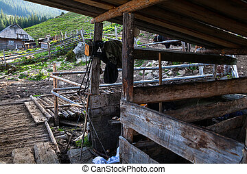 Empty cowsheds on the farm. - Empty cowsheds on the farm in ...
