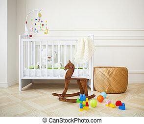 Empty cozy nursery room in light tones