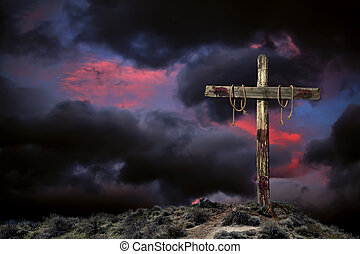 Bloody empty Christian cross against angry cloudy sky representing the immediate aftermath of the crucifixion of Jesus Christ.