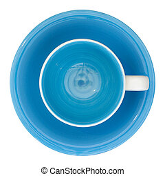 empty cup and saucer top view isolated on white with clipping path