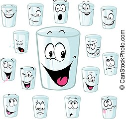 empty cup cartoon with funny face - vector illustration