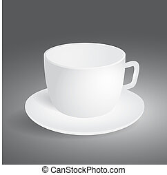 Empty cup on gray background