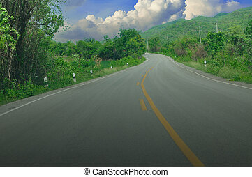 Empty curved road,