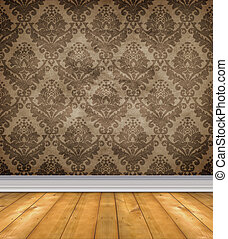 Empty Damask Room With Bare Floors - Empty room with shabby...