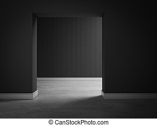 empty dark black room hall 3d rendering