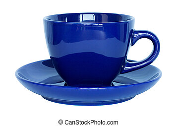 empty dark blue cup and saucer isolated on white with clipping path