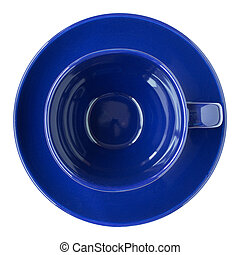 empty dark blue cup and saucer top view isolated on white