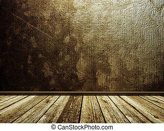 Empty dark room in retro-style,