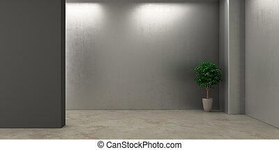 Empty dark room with flower
