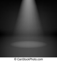 Empty dark room with spotlight - Illustration of empty dark ...