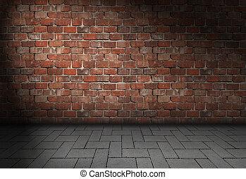 Empty dark scene with spotlight on red brick wall background