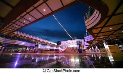 empty deck of cruise ship - empty night deck of luxury...