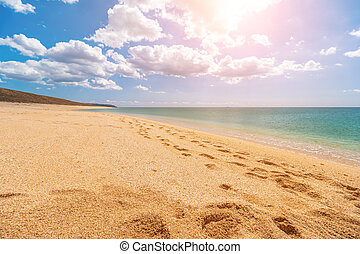 Empty, deserted golden beach with shell sand and crystal clear azure sea. blurred background for your text. concept of travel, ideal place for summer vacation by the sea in a safe place. Copy space.