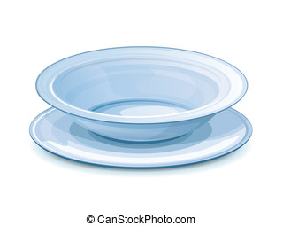 Empty dinner plate with stand