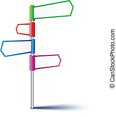 Empty direction sign. - Vector direction sign with four...