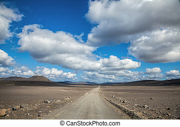 Empty dirt road in iceland