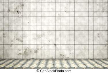 Empty dirty room in grunge style. Tiled room. 3d illustration