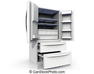 Empty double door refrigerator with freezer drawers
