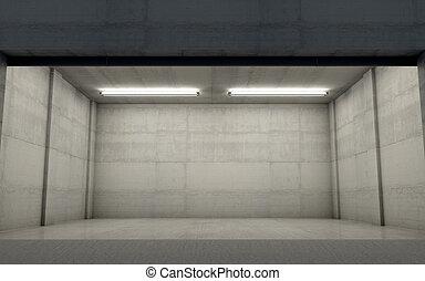 Empty Double Garage Night