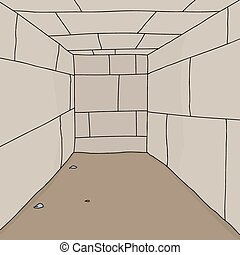 Empty Dungeon Room - Empty cartoon room with dirt floor...