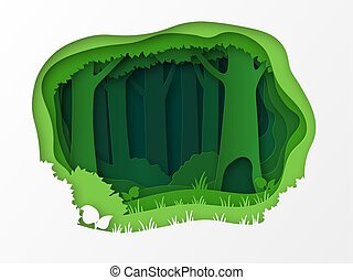 Empty edge of the forest, the park. 3D design with green layers and trees. Grass, bushes, thicket. Paper cut