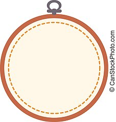 Empty embroidery hoop isolated on white background. Art vector illustration.