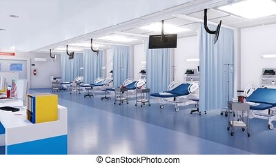 Empty emergency room interior in a modern hospital -...