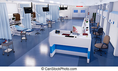 Empty emergency room interior in modern hospital - Emergency...